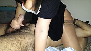 Curvy slut in sexy costume sucking my dick in 69 position