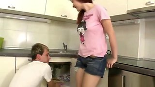 Plumber Fucks a Busty Cougar in Her Kitchen