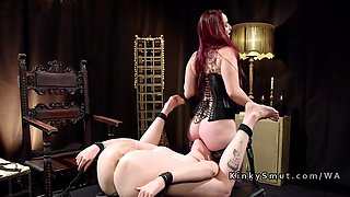 Big ass slut is willing to do anything for her redhead lesbian mistress