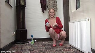 Blonde british babe cleans and flashes