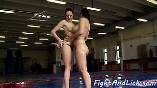 Busty lesbians wrestling and fingerfucking
