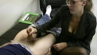 Lady boss masturbates her lazy employee to ignite him to