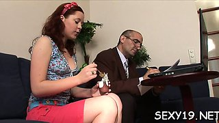 Old teacher is enchanting babe's chaste pussy