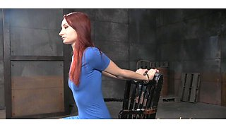 Beautiful redhead girl and her very first BDSM session in the basement