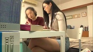 Japanese teacher seducing student at home