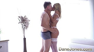 Naughty blonde Serb in sexy white lingerie