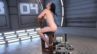 Bound slut fucks miltiple machines