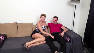 GERMAN MILF in First Time Casting Porn with Young Guy