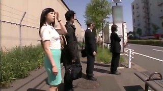 Girl on Bus in Tight Green Skirt