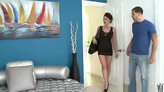 Seducing brunette EU experienced lady Nora Noir giving head deep inside at workplace