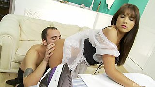 Brunette maid Valery Summer gets a hardcore missionary style fuck