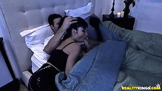 stepdaughter in front of his sleeping wife
