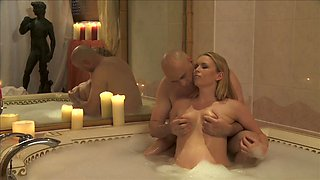 Passionate sex in and out of the pool with a hot blonde