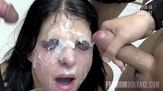 Premium Bukkake - Elya swallows 38 huge facial cumshots