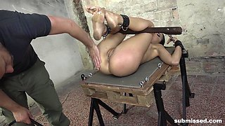 Hardcore BDSM session for tied up alender teen Miky Love