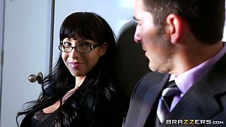 Bosomy black head MILF in sexy stockings pleases hungry boss with stout deep throat