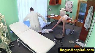 Nurse sucks doctors dick before pussy fucking
