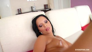 Raven haired sexy bitch Pamela fucks her cute pussy with giant cucumber