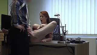 Top redhead amazing hard sex on the desk