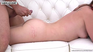 Sweet babe Wendy Moon gets talked into fucking on the couch
