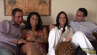 Brunette Beauties Cassandra Cruz and Kylee King Swap Partners in Foursome