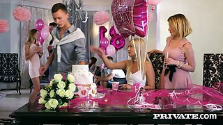 B'day party with charming girl Alexis Crystal ends up as good MMF threesome
