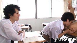 Depraved teacher blows and jerks off jock to lick up sperm