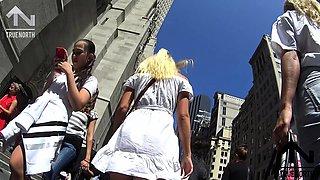 Street voyeur follows a delightful blonde with a perfect ass