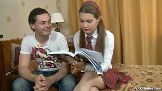 Tutor drills an amazing Russian schoolgirl