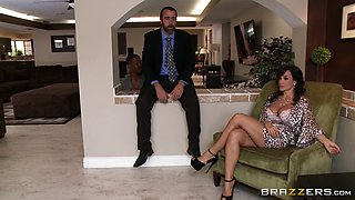 Sizzling cougar with a hairy pussy enjoying an awesome interracial fuck