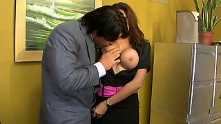 Big boobed 4 eyed hottie Adrenalynn pleasures horny boss with stout DT in the office