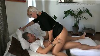 fantastic mom gets fucked in tan shiny pantyhose