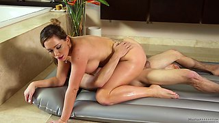Natural tits Destiny Dixon taking bath with her teacher then smashed hardcore