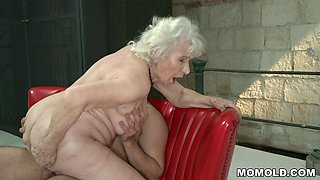 White haired GILF Plowed by Young Dick