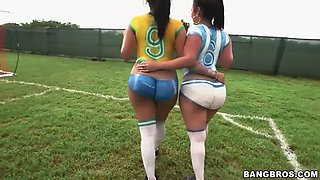 two fatt ass latinas play football and fuck lucky guy