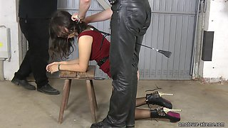 Spanked in the garage : Slave Girl Aijana with red dress whiped ass