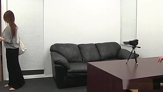 Lovely woman in the office fucked hard on the couch