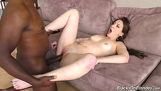 Wild svelte nympho with perfect big tits is so into riding firm BBC on top