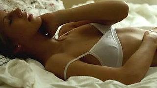 Mesmerizing brunette girlfriend gives tempting masturbation solo