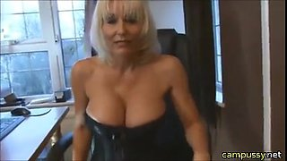 Sexy Milf that gets caught in the act and then fucks the guy
