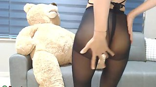 Busty korean camgirl in stockings and pantyhose