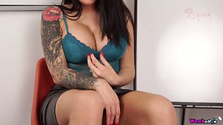 British bombshell Charlie Atwell takes off her clothes and shows off pussy in the office