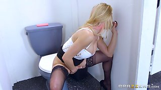 horniest secretary rachel roxxx sucking cock through the hole in the toilet