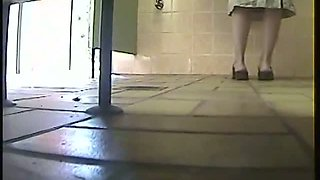Mature woman peeing in a public toilet caught by a voyuer