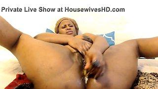 African housewife fucks her both wet creamy holes hard