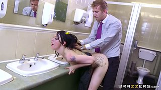 Tattooed raven haired cutie gets her muff banged in mens' restroom hard