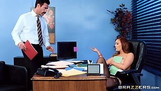 redhead bombshell having sex with boss in the office