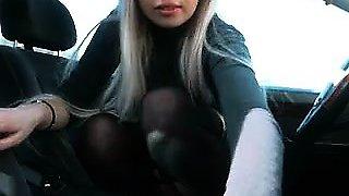 Blonde Czech teen flashing ass in public