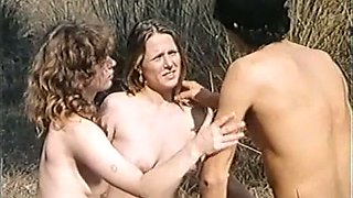 Two lovely all natural French ladies share one cock outdoors