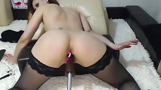 Hot Teen in Stockings Gets Machine Fucked